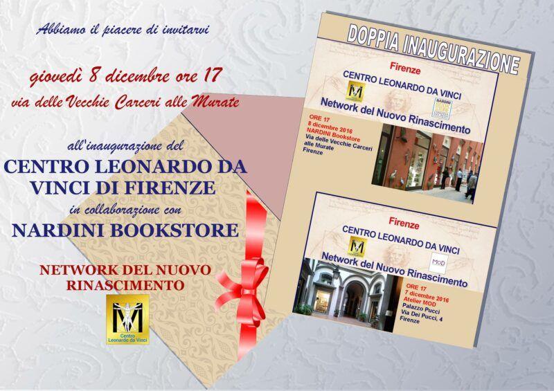 Giovedì 8 dicembre 2016 inaugurazione del nuovo Centro Leonardo da Vinci di Firenze al Bookstore