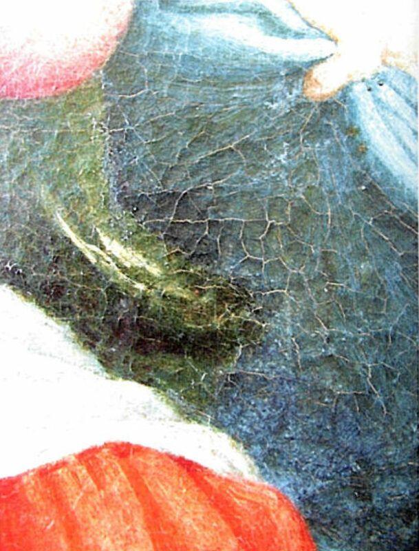 La Pala di Fermo di Lorenzo Lotto. Particolare del cretto del manto della Vergine