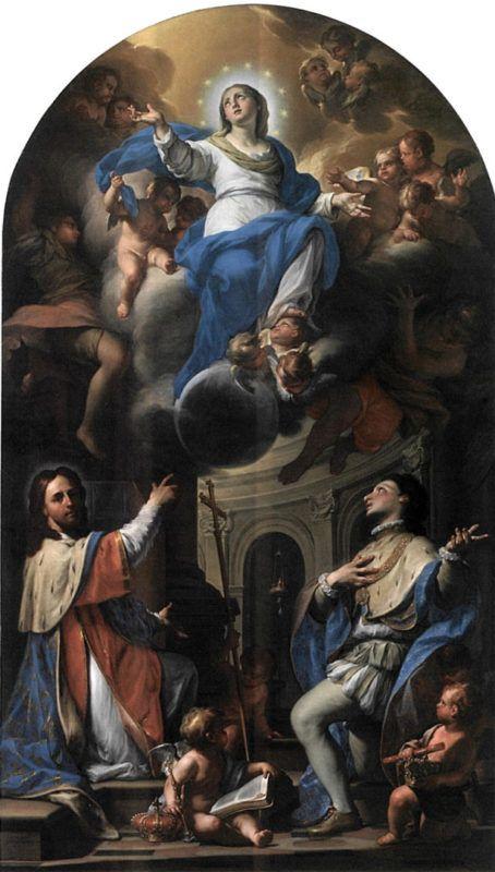 La chiesa di Sant'Uberto alla Venaria Reale (Torino). Francesco Trevisani. Immacolata con san Luigi IX re di Francia e il beato Amedeo di Savoia