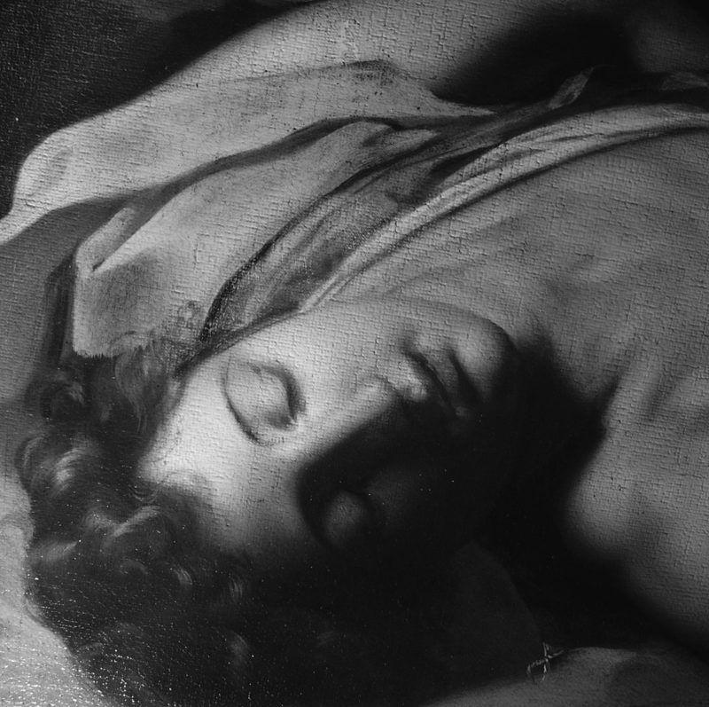 Michele Desubleo, Venere piange la morte di Adone, riflettografia IR: particolare del volto di Adone